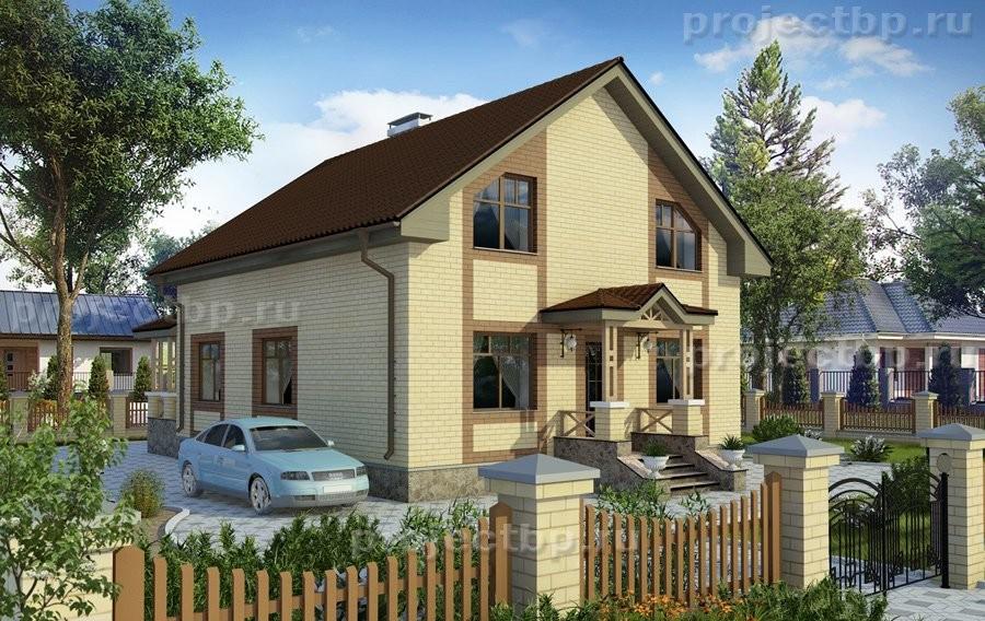 Проект дома c мансардой, террасой и облицовкой кирпичом 139-D